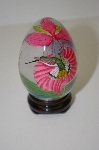 **Vintage Asian Hand Painted Hummingbird Glass Egg