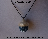 "MBA #AC1-0093  ""Clear Luster & Silver Lined Blue Glass Seed Bead Acorn Pendant"""