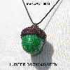 "MBA #AC1-0013  ""Luster Brown & 2 Cut Green Glass Seed Bead Acorn Pendant"""