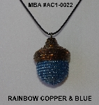 "MBA #AC1-0022  ""Rainbow Copper & Blue Glass Seed Bead Acorn Pendant"""