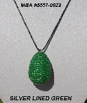 "MBA #5557-0022  ""Silver Lined Green Glass Beaded Egg Pendant"""