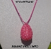 "MBA #5557-0040  ""Bright Pink Lined Glass Seed Bead Egg Pendant"""