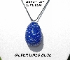 "MBA #5555-0091  ""Silver Lined Blue Glass Seed Bead Egg Pendant"""