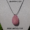 "MBA #5557-128  ""Pink Lined Glass Seed Bead Egg Pendant"""