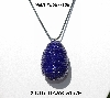"MBA #555-138  ""2 Ct Dark Blue Glass Seed Bead Egg Pendant"""