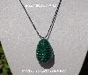 "MBA #5557-142  ""2 Cut Darge Green Glass Seed Bead Egg Pendant"""