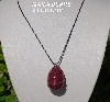 "MBA #5557-165  ""2 Cut Ruby Red Glass Bead Egg Pendant"""