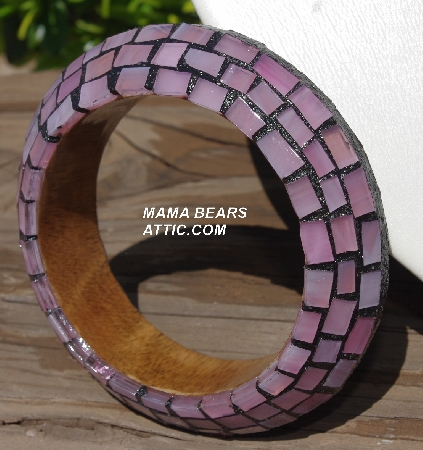"MBA #5556-269  ""Rose Quartz Pink Stained Glass Bangle Bracelet"""