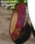 "MBA #5556-255  ""Iridescent Red Stained Glass Bangle Bracelet"""