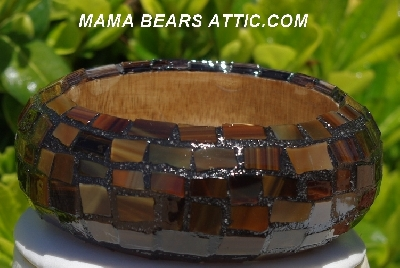 "MBA #5556-171  ""Multi Brown Stained Glass Bangle Bracelet"""