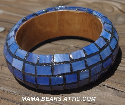 "MBA #5556-187  ""Multi Blue Stained Glass Bangle Bracelet"""