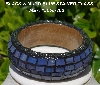 "MBA #5556-202  ""Black Trim & Lavender Mixed Blue Stained Glass Bangle Bracelet"""