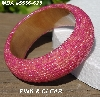 "MBA #5556-623  ""Pink & Clear Glass Seed Bead Bangle Bracelet"""