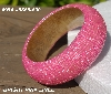 "MBA #5556-690  ""Bright Pink Lined Glass Seed Bead Bangle Bracelet"""