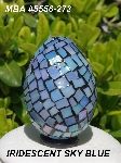 "MBA #5556-273  ""Iridescent Sky Blue Stained Glass Mosaic Egg"""