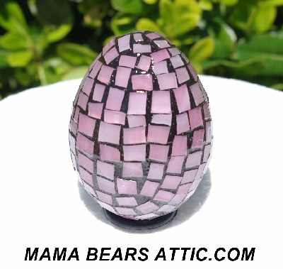 "MBA #5556-284  ""Rose Quartz Pink Stained Glass Mosaic Egg"""