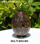 "MBA #5556-293  ""Multi Brown Stained Glass Mosaic Egg"""