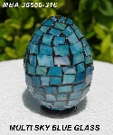 "MBA #5556-316  ""Multi Sky Blue Stained Glass Mosaic Egg"""