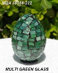 "MBA #5556-322  ""Multi Green Stained Glass Mosaic Egg"""