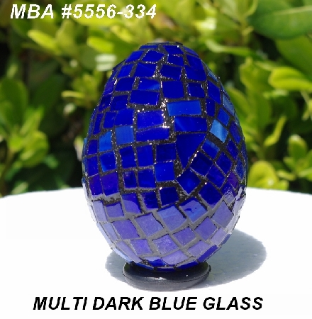 "MBA #5556-334  ""Multi Dark Blue Stained Glass Mosaic Egg"""