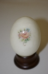 White Marble Egg With Small Pink Rose