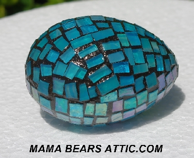 "MBA #5556-340  ""Iridescent Blue Stained Glass Mosaic Egg"""