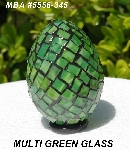 "MBA #5556-345  ""Multi Green Stained Glass Mosaic Egg"""