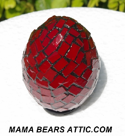 "MBA #5556-352  ""Red Stained Glass Mosaic Egg"""