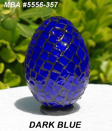 "MBA #5556-357  ""Dark Blue Stained Glass Mosaic Egg"""