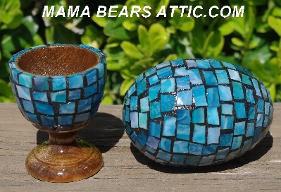 "MBA #5556-420  ""Large Multi Blue Mosaic Stained Glass Egg With Matching Egg Cup"""