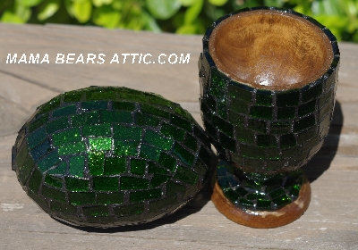 "MBA #5556-423  ""Large Green Glitter Glass Mosaic Egg With Matching Egg Cup"""