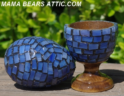 "MBA #5556-429  ""Multi Blue Stained Glass Mosaic Egg & Matching Egg Cup"""