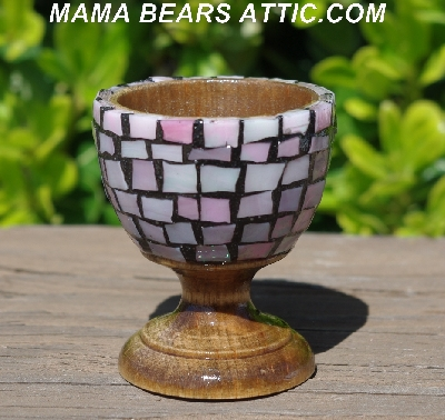 "MBA #5556-438  ""Iridescent Pink Stained Glass Mosaic Egg With Matching Egg Cup"""