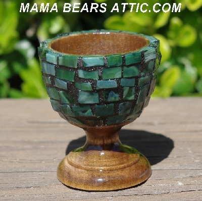 "MBA #5556-445  ""Multi Green Stained Glass Mosaic Egg With Matching Egg Cup"""