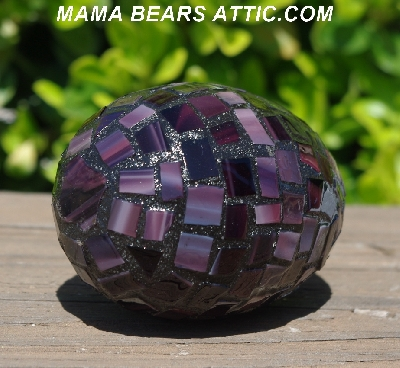 "MBA #5556-482  ""Multi Dark Purple Stained Glass Large Mosaic Egg"""