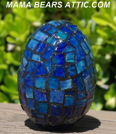 "MBA #5556-486  ""Large Multi Blue Stained Glass Mosaic Egg """