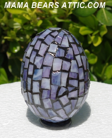 "MBA #5556-280  ""Large Multi Purple Stained Glass Mosaic Egg"""