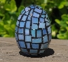 "MBA #5556-479  ""Iridescent Blue Stained Glass Mosaic Egg"""