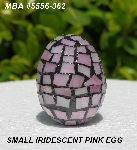 "MBA #5556-362  "" Small Iridescent Pink Stained Glass Mosaic Egg"""