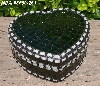 "+MBA #5558-263  ""Glitter Green & White Stained Glass Heart Shaped Mosaic Jewelry Trinket Box"""