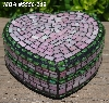 "+MBA #5558-269  ""Pink & Green Stained Glass Mosaic Heart Shaped Mosaic Jewelry Trinket Box"""
