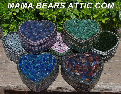 "MBA #5558-278  ""Pink, Blue & Lavender Stained Glass Heart Shaped Mosaic Jewelry Trinket Box"""