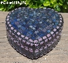 "+MBA #5558-278  ""Pink, Blue & Lavender Stained Glass Heart Shaped Mosaic Jewelry Trinket Box"""