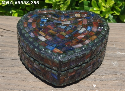 "MBA #5558-286  ""Black & Multi Stained Glass Heart Shaped Mosaic Jewelry Trinket Box"""