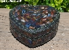"+MBA #5558-286  ""Black & Multi Stained Glass Heart Shaped Mosaic Jewelry Trinket Box"""