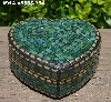 "+MBA #5558-304  ""Gold & Multi Green Stained Glass Heart Shaped Mosaic Jewelry Trinket Box"""