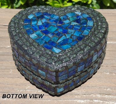 "MBA #5558-313  ""Black & Multi Blue Stained Glass Heart Shaped Mosaic Jewelry Trinket Box"""