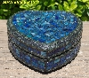 "+MBA #5558-313  ""Black & Multi Blue Stained Glass Heart Shaped Mosaic Jewelry Trinket Box"""