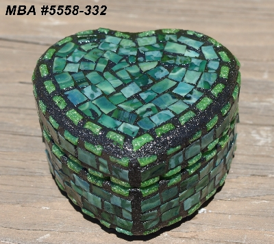 "MBA #5558-332  ""Small Multi Green Stained Heart Shaped Mosaic Jewelry Trinket Box"""