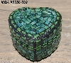 "+MBA #5558-332  ""Small Multi Green Stained Heart Shaped Mosaic Jewelry Trinket Box"""